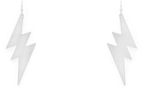 Brushed Silver Lightening Bolt Earrings - Shoppe3130