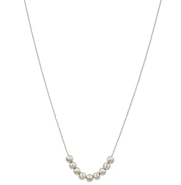 Silver Ball Row Necklace - Shoppe3130