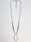 Gold Chain and Grey Crystal with Oval Drop Necklace - Shoppe3130