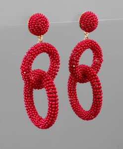 Dark Red Bead Circle Link Earrings - Shoppe3130