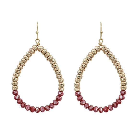 Peach Crystal Teardrop Earrings - Shoppe3130