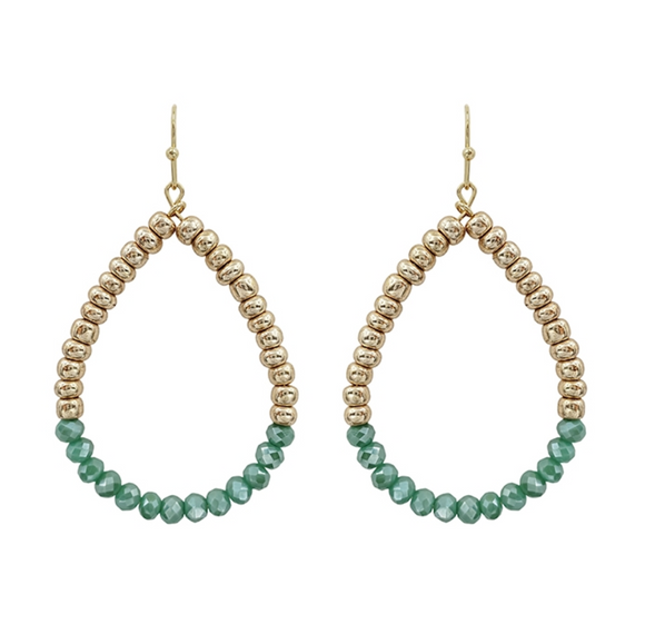 Teal Crystal Teardrop Earrings - Shoppe3130