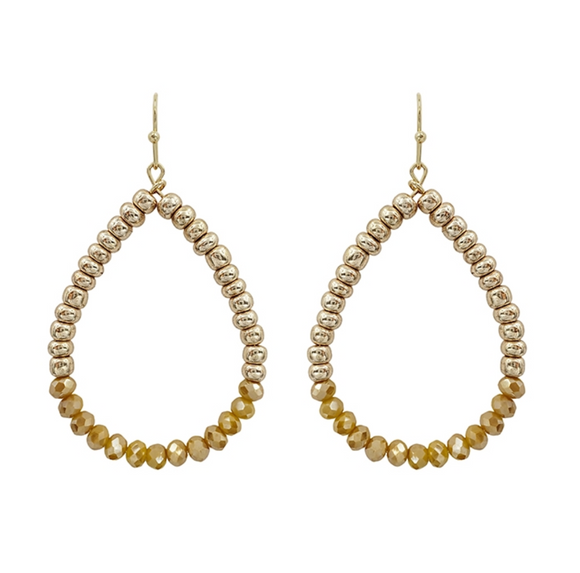 Mustard Crystal Teardrop Earrings - Shoppe3130