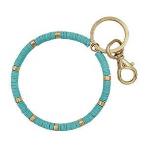 Teal and Gold Beaded Keyring - Shoppe3130