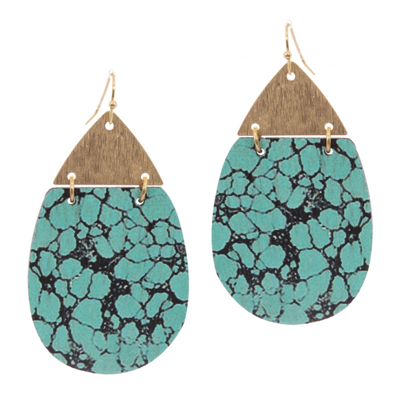 Gold and Turquoise Marble Print Painted Wood Earring - Shoppe3130