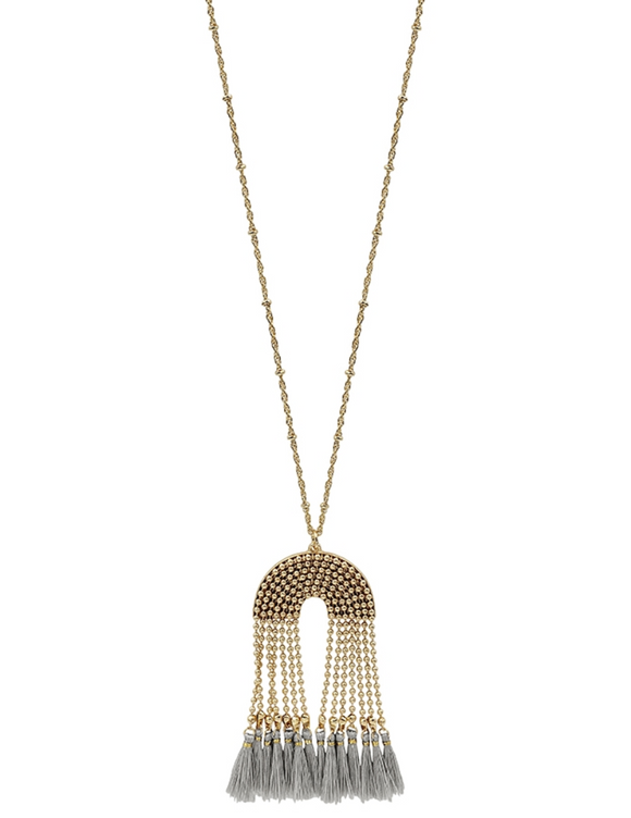 Gold Beaded Chain Necklace with Grey Tassel - Shoppe3130