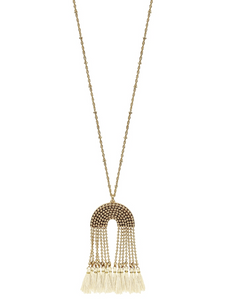 Gold Beaded Chain with Natural Tassel Necklace - Shoppe3130