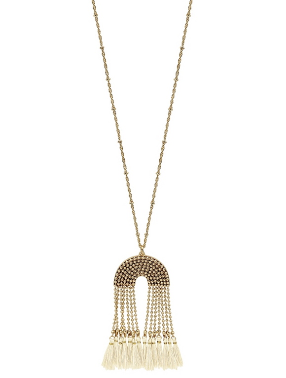 Gold Beaded Chain with Natural Tassel Necklace