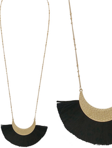 Navy Fan Tassel Gold Half Moon Necklace - Shoppe3130