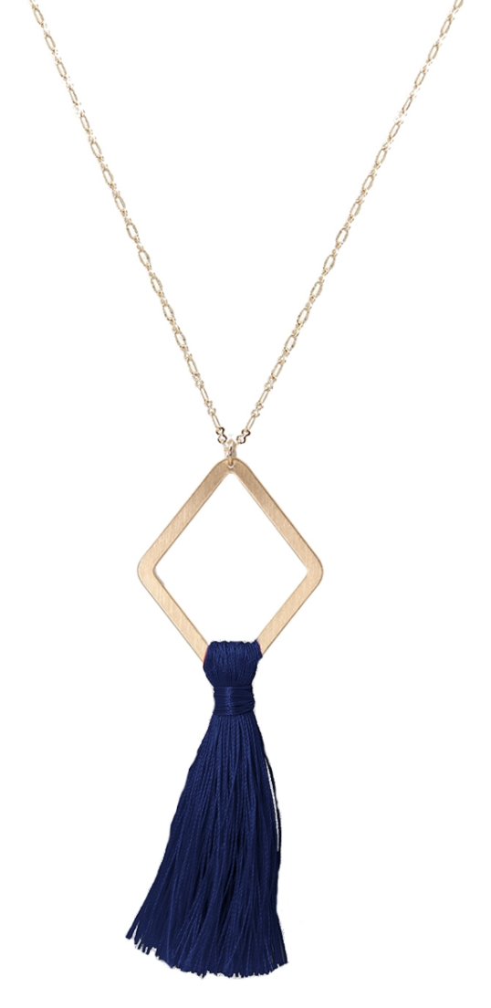 Matte Gold Diamond with Navy Fabric Tassel Necklace