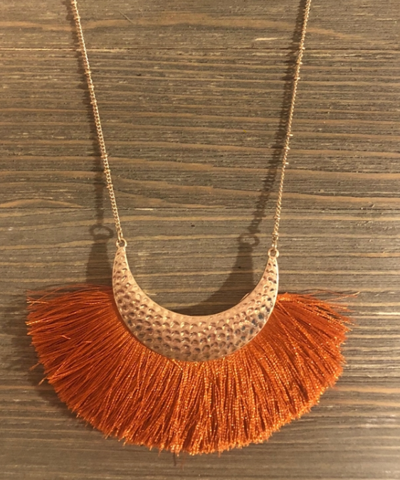 Orange Fan Tassel Gold Half Moon Necklace