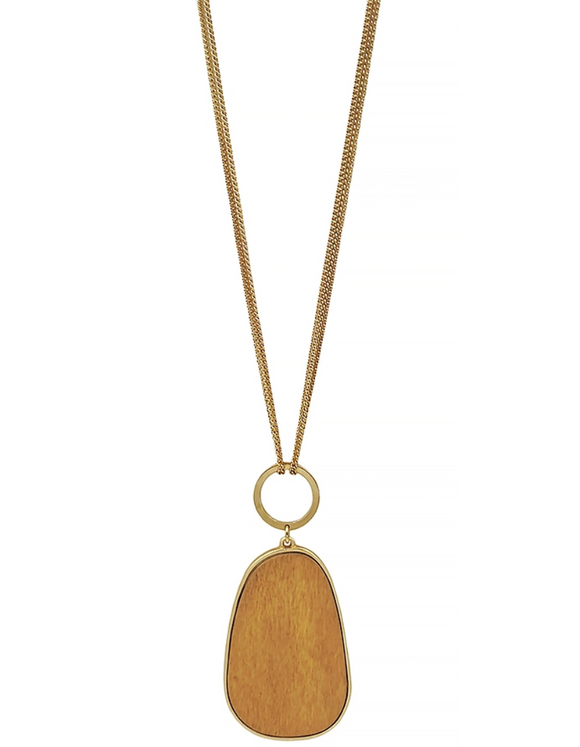 Light Brown Wood Oval Necklace