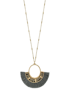 Grey Wood Beaded Fan Tassel Necklace - Shoppe3130