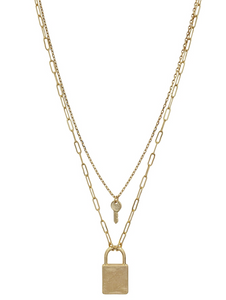 Matte Gold Layered Locked and Key Necklace - Shoppe3130