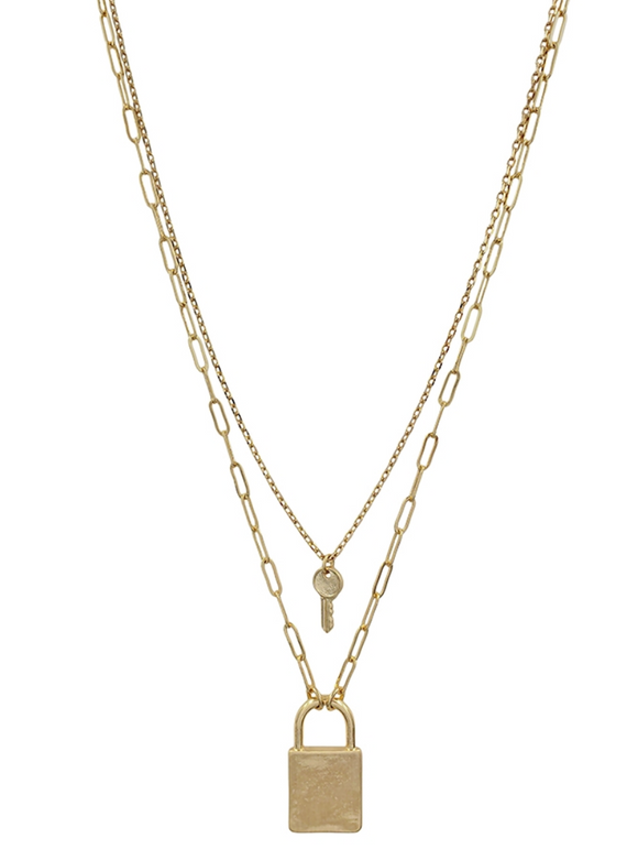 Matte Gold Layered Locked and Key Necklace
