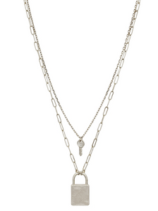 Matte Silver Layered Locked and Key Necklace - Shoppe3130