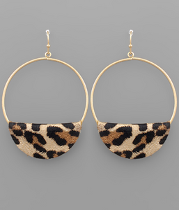Leopard Wedge Leather Circle Earrings - Shoppe3130