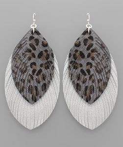 Gray Leopard Layered Feather Earrings - Shoppe3130