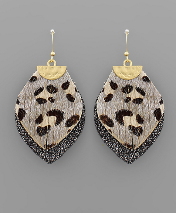 Ivory Leopard Marquise Layer Earrings - Shoppe3130