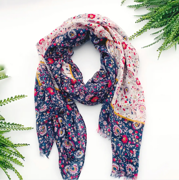 Navy Floral Summer Scarf - Shoppe3130