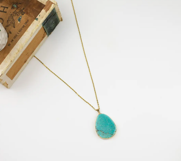 Turquoise Teardrop Necklace - Shoppe3130