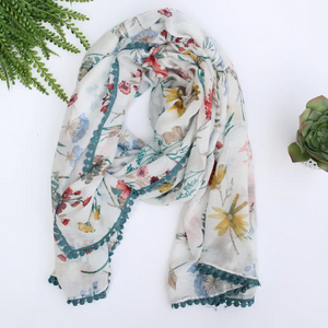 Cream & Teal Floral Pattern Summer Scarf - Shoppe3130