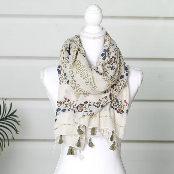 Ivory and Olive Tassel Summer Scarf - Shoppe3130