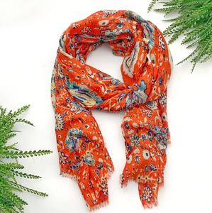 Bright Coral Summer Scarf - Shoppe3130