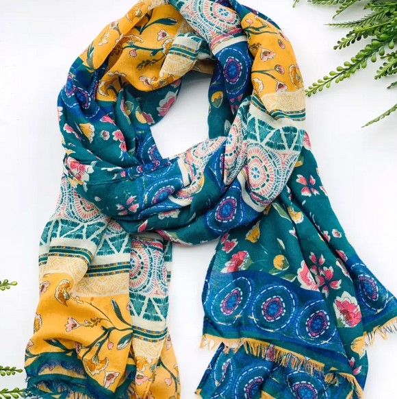 Mustard and Teal Summer Scarf - Shoppe3130