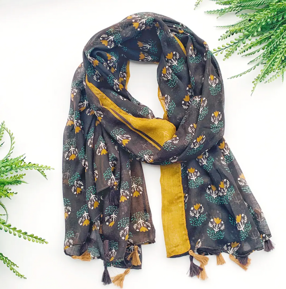 Navy and Mustard Summer Scarf - Shoppe3130