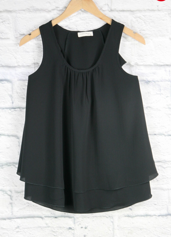 Girls Black Ruffle Back Tank - Shoppe3130