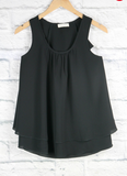 Girls Black Ruffle Back Tank