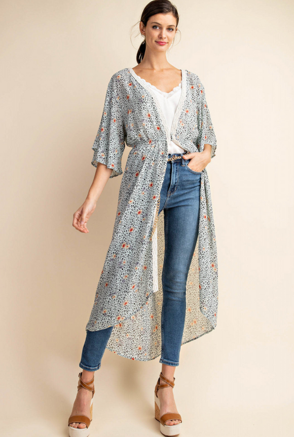 Rose and Leopard Chiffon Cardigan - Shoppe3130