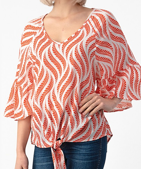 Leaf Print Ruffle Sleeve Knot Top - Shoppe3130