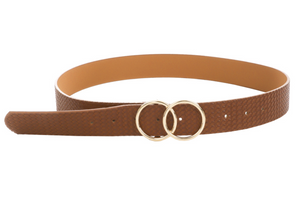 Brown Textured Double Ring Belt - Shoppe3130