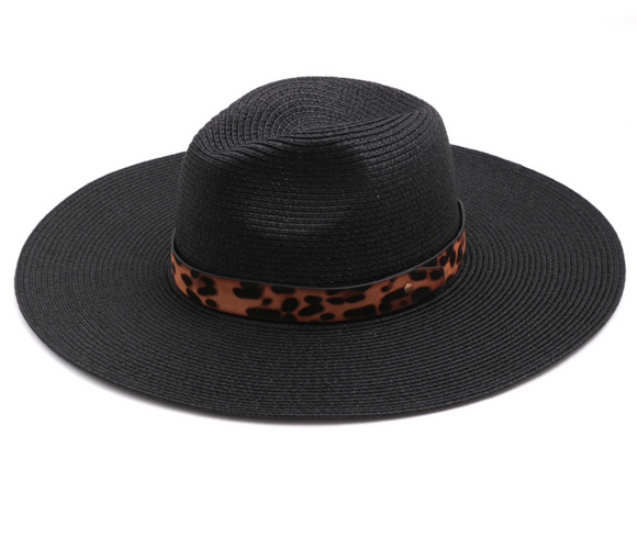 Black Leopard Ribbon Straw Hat - Shoppe3130