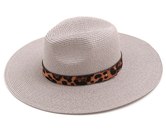 Gray Leopard Ribbon Straw Hat - Shoppe3130
