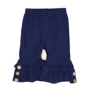 Solid Navy Button Accent Ruffle Capri Pants - Shoppe3130