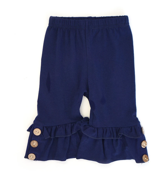 Solid Navy Button Accent Ruffle Capri Pants