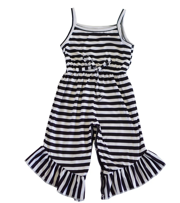 Black Stripe Ruffle Romper - Shoppe3130