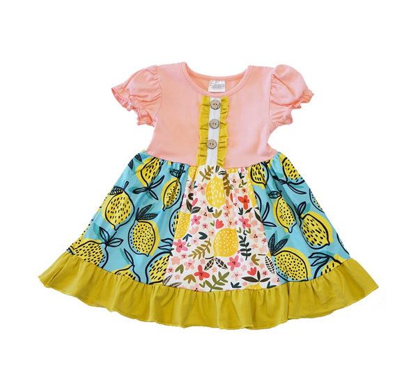 Lemon Print Pink Ruffle Dress - Shoppe3130