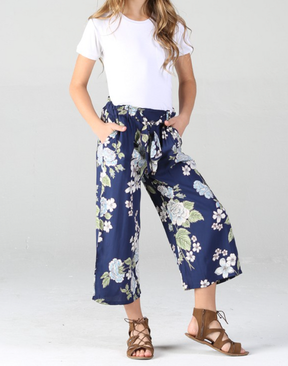 Girls Navy Floral Pants - Shoppe3130