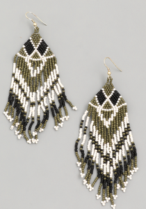 Seed Beaded Fringe Drop Earrings - Shoppe3130