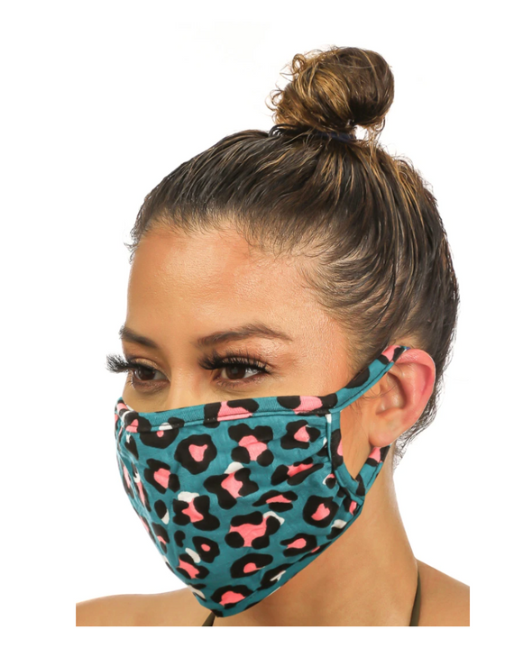 Double Layered Teal Leopard Print Face Mask - Shoppe3130