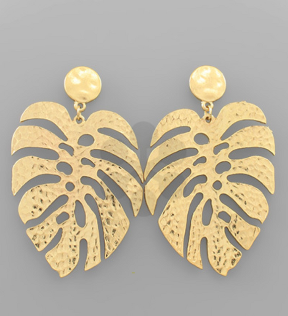 Gold Metal Monstera Leaf Earrings
