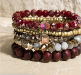 Wood & Crystal Bracelet Set