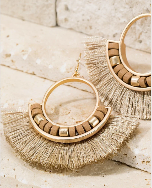 Wood and Fan Tassel Earrings