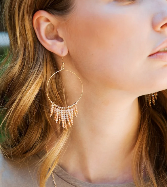 Beaded Fringe Hoop Earrings