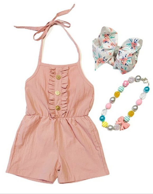 Girls Blush Halter Romper