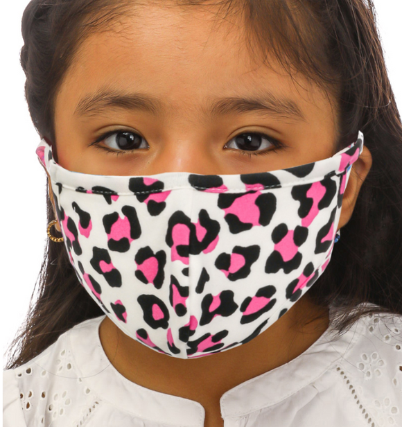 Kids Double Layered Pink Leopard Face Mask